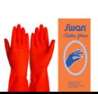 ถุงมือยางสีส้ม ตราสวอน