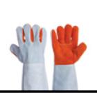 ถุงมือหนังท้องสลับสี เหลือง-ขาว