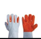 ถุงมือหนังท้อง สลับสี แบบสั้น